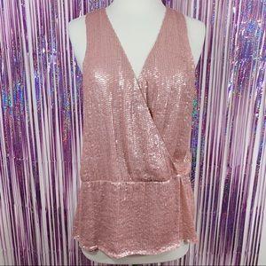 Parker Pink Sequin Silk Blouse Tank